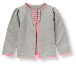 Janie and Jack Tipped Ruffle Placket Cardigan