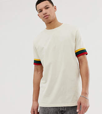 BEIGE Asos Design ASOS DESIGN Tall relaxed t-shirt with contrast sleeve tipping in