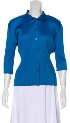 Pleats Please Issey Miyake Collared Plisse Blouse
