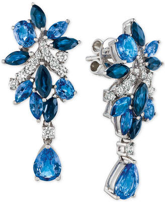 LeVian Le Vian Precious Collection Sapphire (5-1/5 ct. t.w.) and Diamond (3/8 ct. t.w.) Drop Earrings in 14k White Gold, Created for Macy's