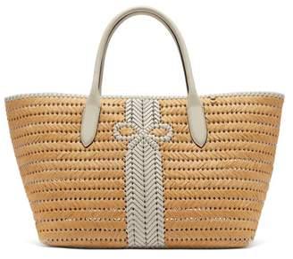 Anya Hindmarch The Neeson Large Straw Basket Bag - Womens - White Multi