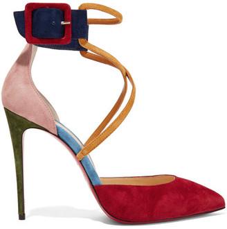 Christian Louboutin - Suzanna 100 Color-block Suede Pumps - Crimson $845 thestylecure.com