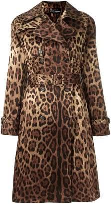 Dolce & Gabbana leopard print trench coat