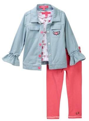 Betsey Johnson Flying Hearts Tee, Denim Jacket, & Sparkle Leggings Set (Toddler Girls)