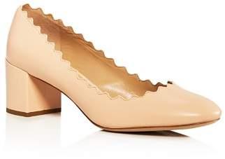 Chloé Women's Lauren Scalloped Leather Block-Heel Pumps