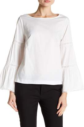 Nanette Lepore NANETTE Embroidered Flare Sleeve Top