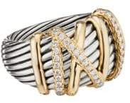 David Yurman Helena 18K Yellow Gold& Pave Diamond Ring