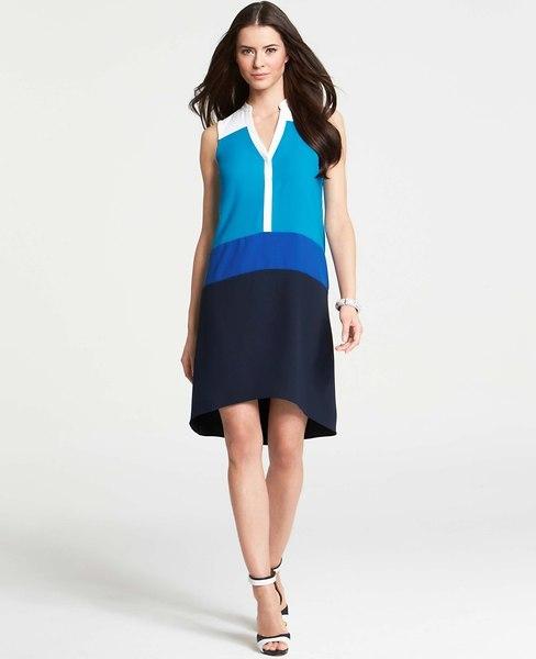 Ann Taylor Colorblocked Sleeveless Shirtdress