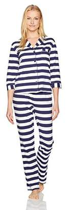 Mae Women's 3/4 Sleeve Notch Collar Pajama Set