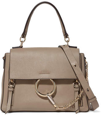 Chloé Faye Day Large Leather And Suede Shoulder Bag - Gray