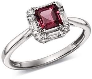Bloomingdale's Rhodolite Garnet & Diamond Square Ring in 14K White Gold - 100% Exclusive