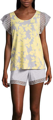 Liz Claiborne Lace Trim Shorts Pajama Set