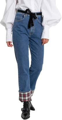 Isa Arfen Tartan Cuff Blue-jeans
