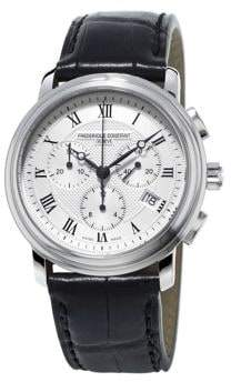 Frederique Constant Logo Leather-Strap Watch
