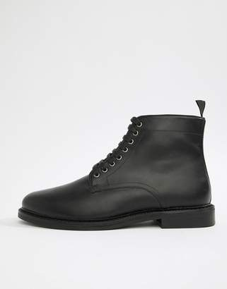 WALK LONDON WALK London Darcy lace up boots in black wax leather