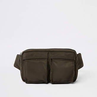 River Island Khaki green two pocket cross body bag