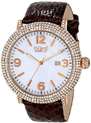 Burgi Women's BUR074BR Swiss Quartz Crystal Mother-of-Pearl Brown Leather Strap Watch