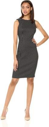Calvin Klein Women's Textured Sleeveless Princess Seam Sheath Dress, Black/Cream