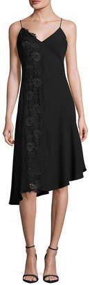 Rachel Roy Asymmetric Lace Panel Slip Dress