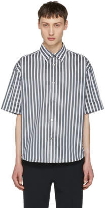 N.Hoolywood Grey Short Sleeve Striped Shirt