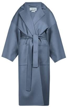 Loewe Piacenza Oversized Wool Blend Coat - Womens - Blue
