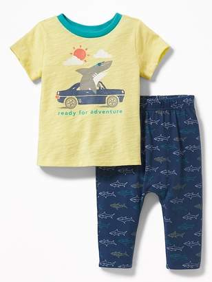 Old Navy Graphic Tee & Printed Jersey Pants Set for Baby