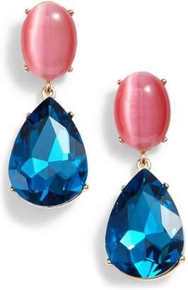 Halogen Gemstone Statement Double Drop Earrings