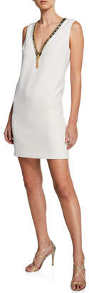 Badgley Mischka Embellished V-Neck Sleeveless Sack Dress