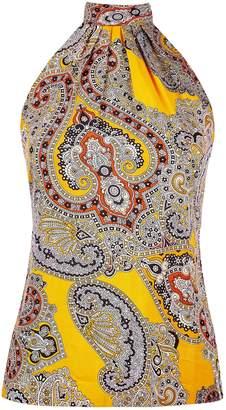 Dorothy Perkins Womens Petite Orange Paisley Print Halter Neck Top