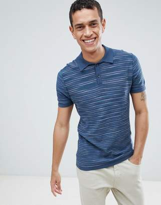 Benetton Knitted Polo In Marl Stripe