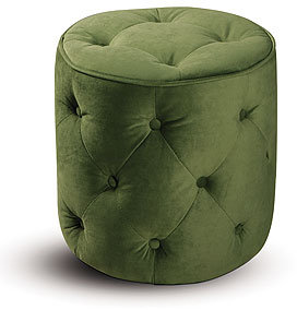 Green Tufted Velvet Round Ottoman