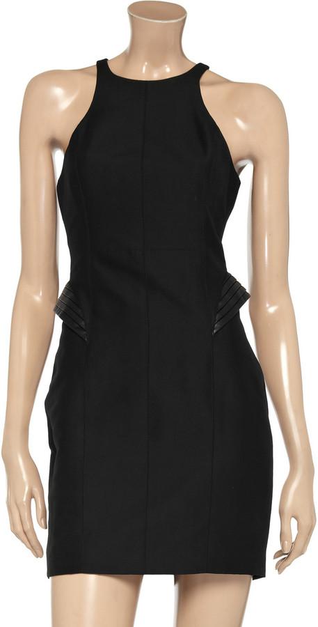 Halston Cotton and silk-blend peplum dress