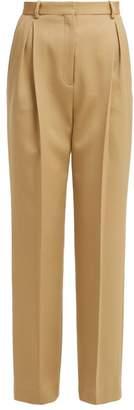 The Row Rina High Rise Wool Blend Trousers - Womens - Tan