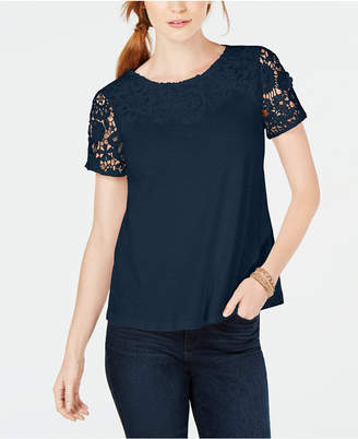 Charter Club Cotton Lace-Embellished T-Shirt