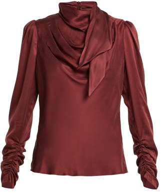 Zimmermann Unbridled Silk Satin Blouse - Womens - Burgundy