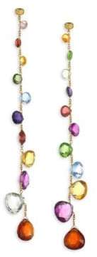 Marco Bicego Paradise Mixed Elevated Gemstones Graduated Long Earrings