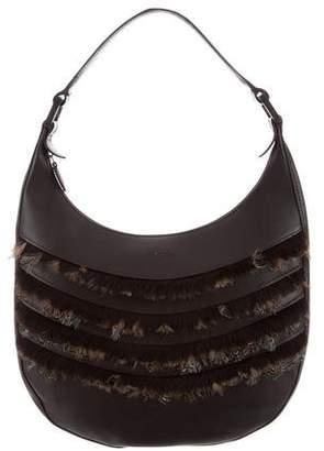 Longchamp Feather Embellished Leather Hobo