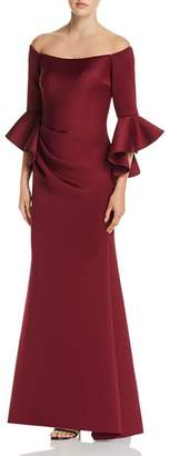 Aqua Off-the-Shoulder Bell Sleeve Scuba Gown - 100% Exclusive