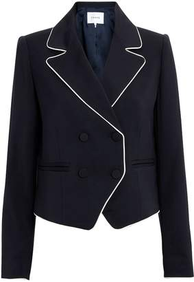 Frame Double Piped Navy Blazer