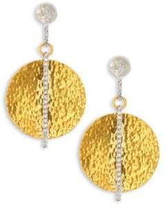 Gurhan Lush Diamond, 24K Yellow Gold& 18K White Gold Drop Earrings