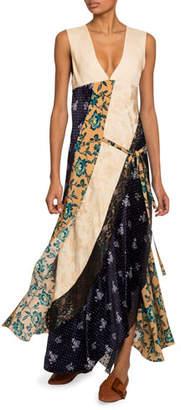 Chloé Floral Patchwork Crepe de Chine V-Neck Dress