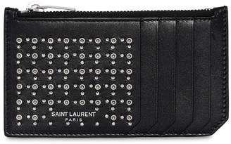 Saint Laurent Studs & Eyelets Leather Zip Card Holder