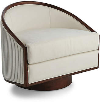 Global Views Modern Swivel Chair - White Leather