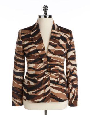 AK Anne Klein WOMENS Plus Camouflage One-Button Blazer