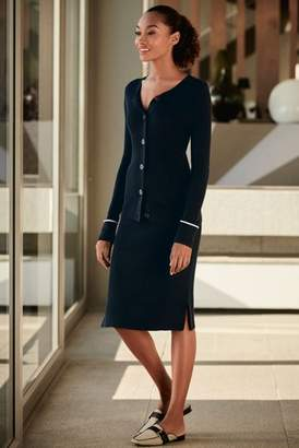 Next Womens Navy Tipped Rib Cardigan