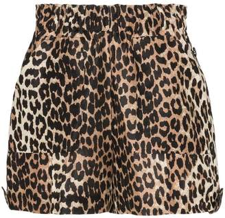 Ganni cedar leopard print linen and silk shorts