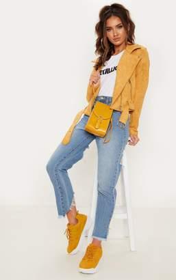 PrettyLittleThing Mustard Faux Suede Biker Jacket