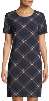 eba5f7c89de Neiman Marcus Short-Sleeve Plaid Scuba Shift Dress