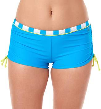 Reebok Women's Rebel Stripe Boyshort Swim Bottoms