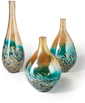 Twos Company Two's Company Sunset Set of 3 Lustrous Turquoise and Amber Teardrop Vases